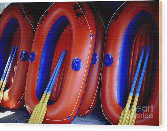 Rafts Waiting Wood Print