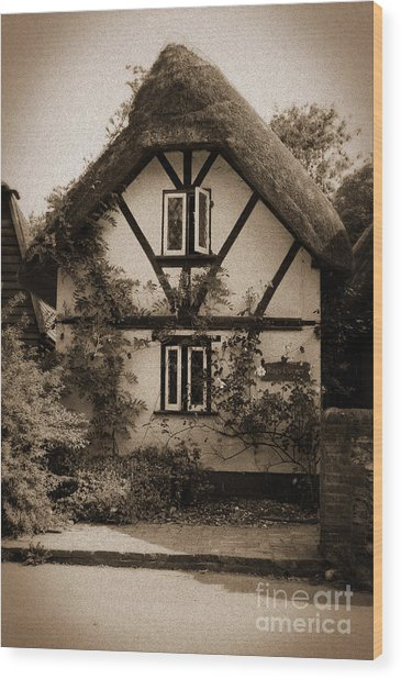 Rags Corner Cottage Nether Wallop Olde Sepia Wood Print