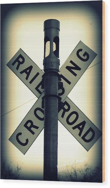 Rail Road Crossing Wood Print
