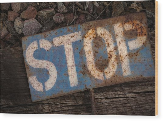 Railroad-stop Sign Wood Print by Joe Gemignani