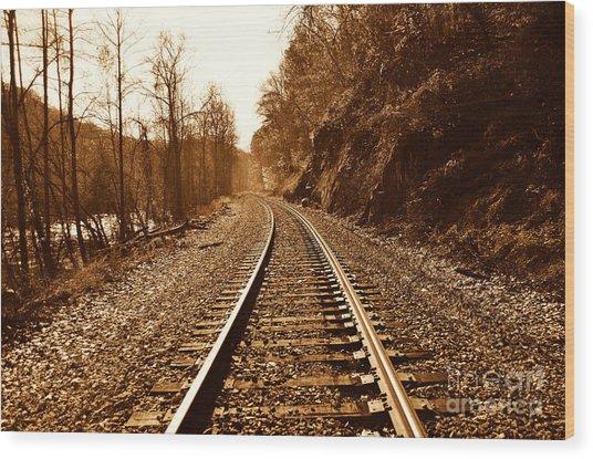 Railroad Track Wood Print by Cheryl Boutwell