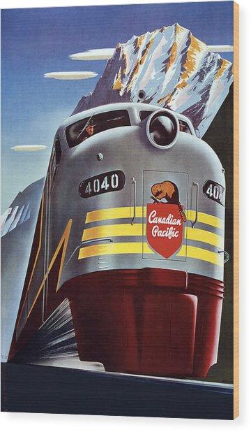 Railroad Travel Poster Wood Print