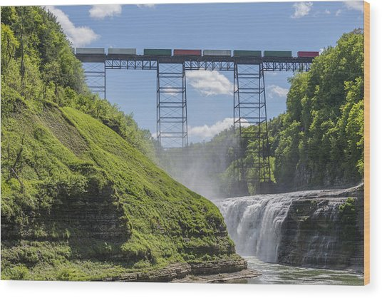 Railroad Trestle And Upper Falls At Letchworth State Park Wood Print