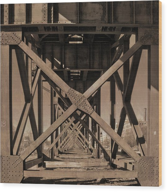Railroad Trestle Sepia Wood Print