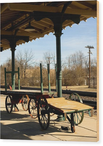Railroad Wagons Wood Print by Denise Beverly