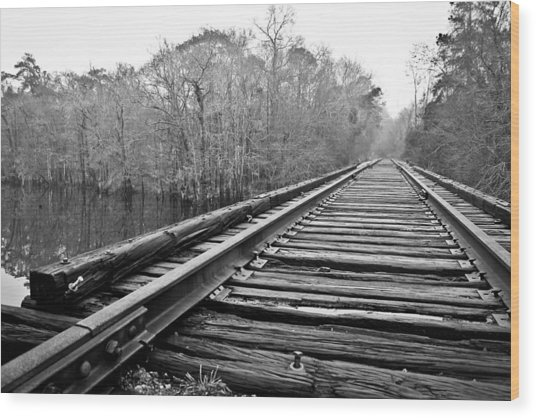 Rails Over Water Wood Print