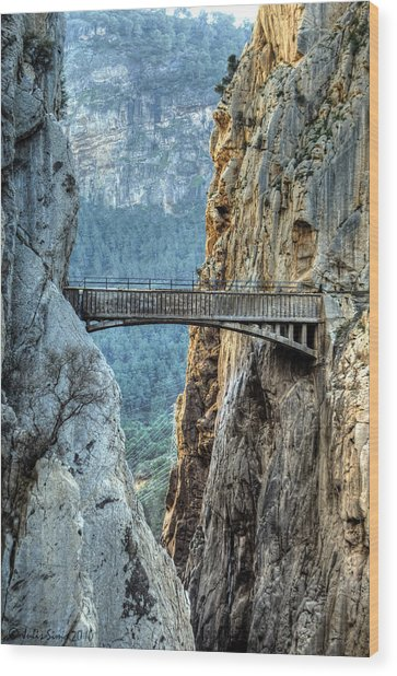Railway Bridge In El Chorro Wood Print