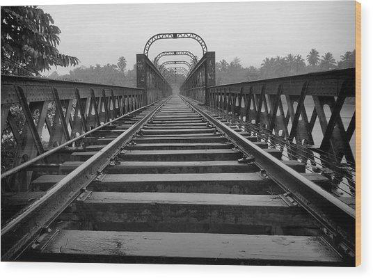 Railway Tracks Wood Print by Sanjeewa Marasinghe