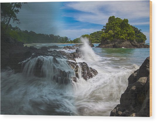 Rain And Shine At Manuel Antonio Beach Wood Print
