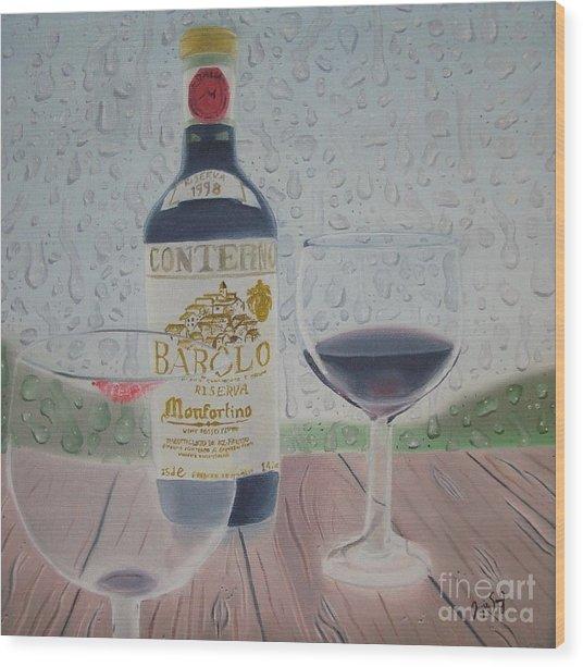 Rain And Wine Wood Print by Angela Melendez