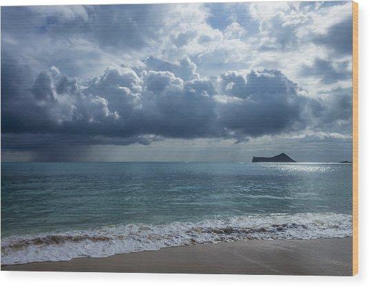Rain Clouds At Waimanalo Wood Print