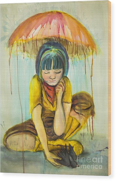Wood Print featuring the painting Rain Day  by Angelique Bowman