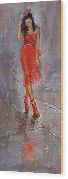 Rain In Manhattan Wood Print