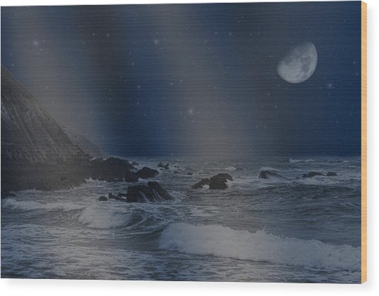 Rain Of Stars On The Sea  Wood Print