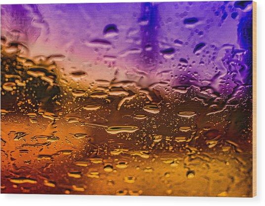Rain On Windshield Wood Print