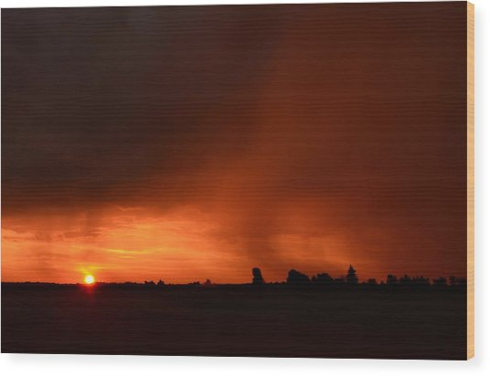 Rain Squall Sunrise Wood Print