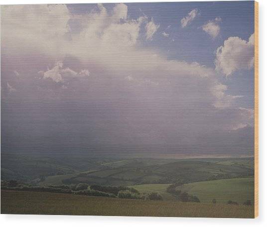 Rain Storm Over Exmoor Wood Print by Tony Craddock/science Photo Library
