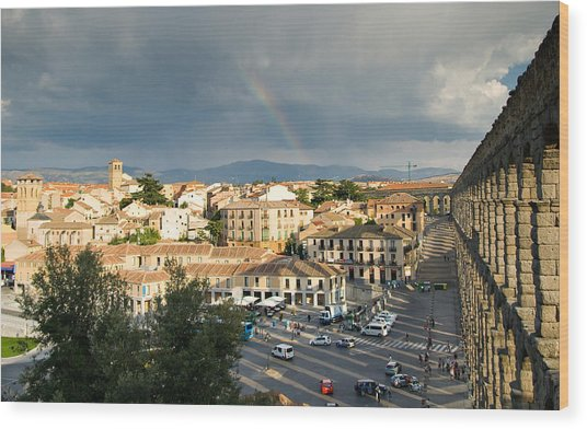 Rainbow And Ancient Aqueduct Wood Print by Viacheslav Savitskiy