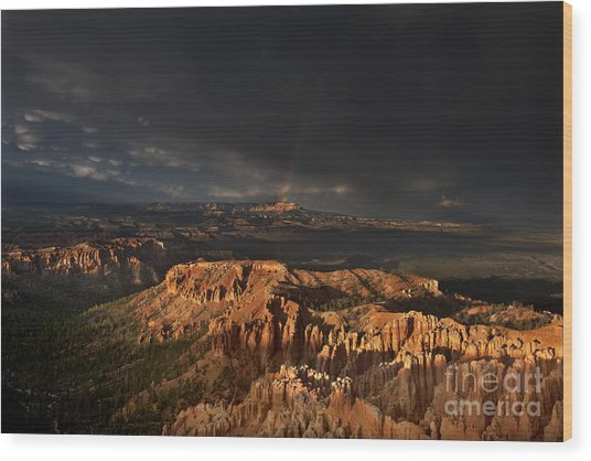 Wood Print featuring the photograph Rainbow And Thunderstorm Over The Paunsaugunt Plateau  by Dave Welling