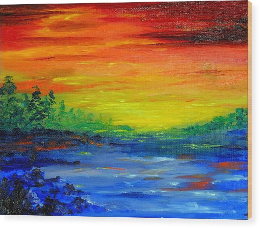 Rainbow Back Waters Wood Print