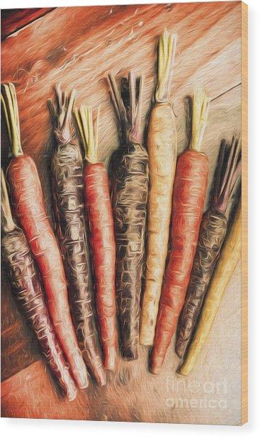 Rainbow Carrots. Vintage Cooking Illustration  Wood Print