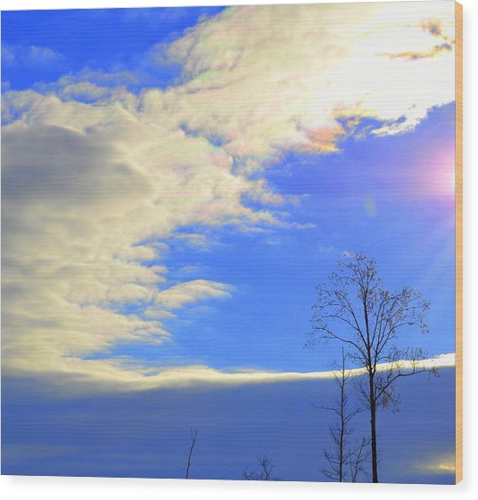 Rainbow Clouds Wood Print
