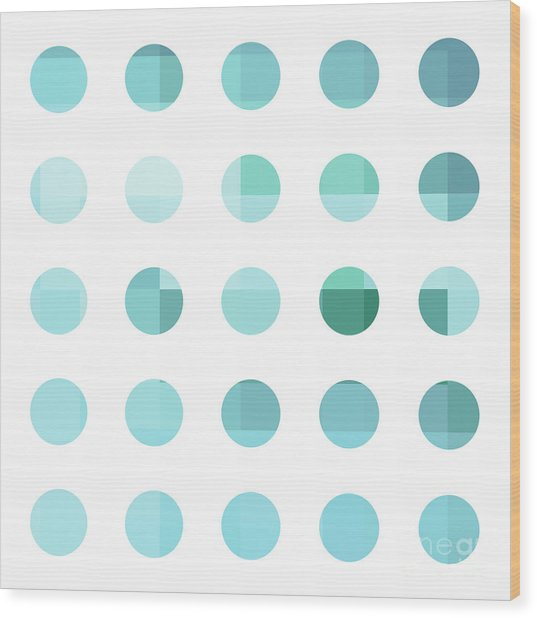 Rainbow Dots Aqua  Wood Print