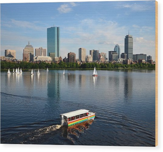 Rainbow Duck Boat On The Charles Wood Print