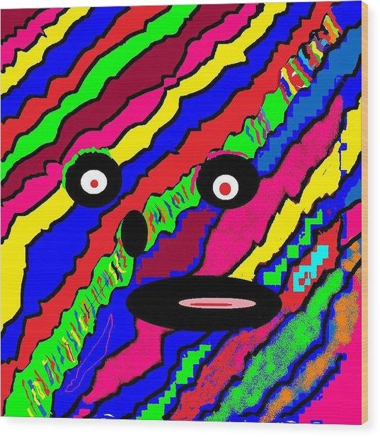 Rainbow Face Wood Print
