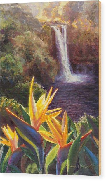 Rainbow Falls Big Island Hawaii Waterfall  Wood Print