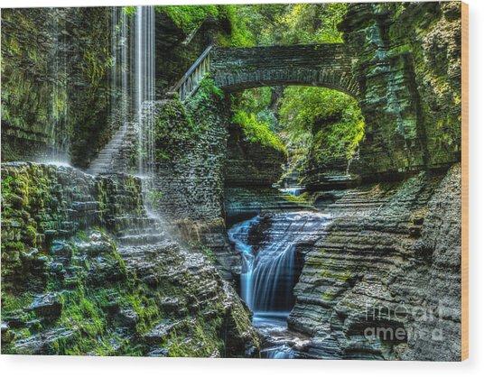 Rainbow Falls Watkins Glen Wood Print