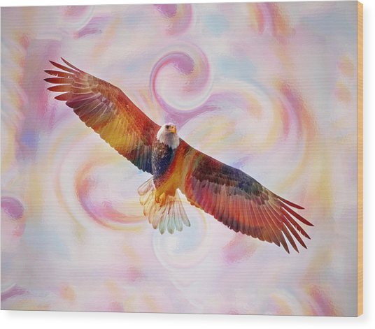 Rainbow Flying Eagle Watercolor Painting Wood Print