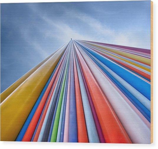 Rainbow From A Cloud Wood Print