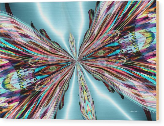 Rainbow Glass Butterfly On Blue Satin Wood Print