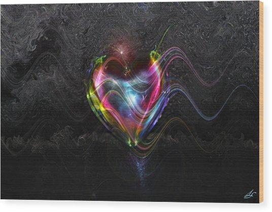 Rainbow Heart Wood Print