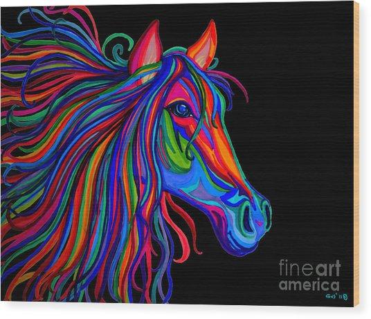Rainbow Horse Head Wood Print
