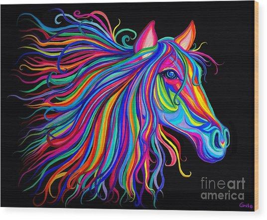 Rainbow Horse Too Wood Print