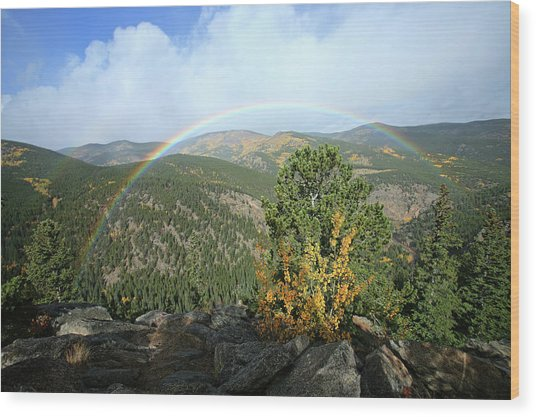Rainbow In Mountains Wood Print