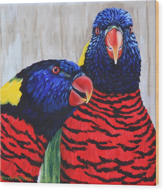 Rainbow Lorikeets Wood Print