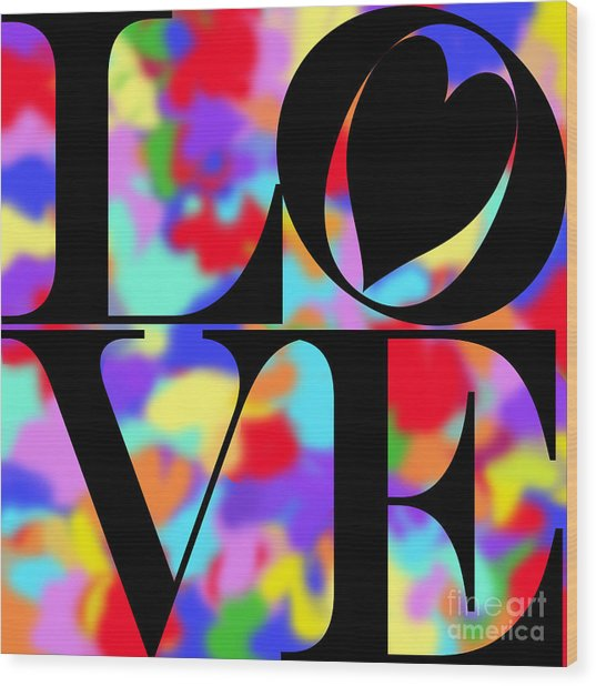 Rainbow Love In Black Wood Print