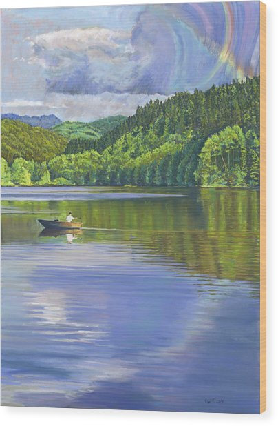 Lake Padden - View From The Alex Johnston Memorial Bench Wood Print