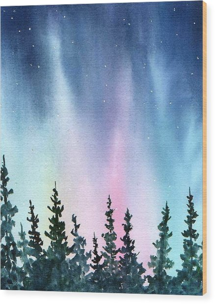 Rainbow Night Wood Print