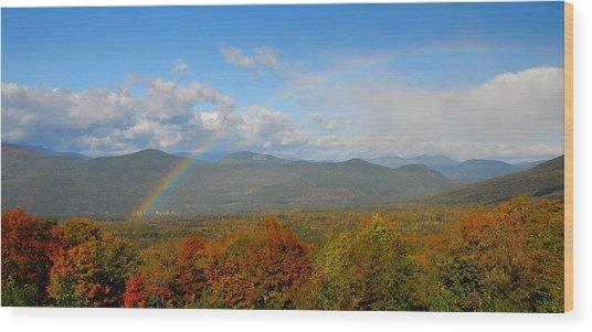 Rainbow Over Bartlett Nh Wood Print by Ken Stampfer
