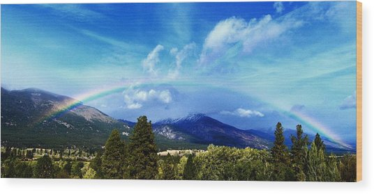 Rainbow Over Hamilton Montana Wood Print