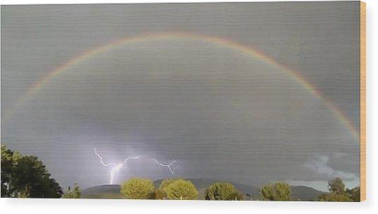 Rainbow Over Lightening Wood Print