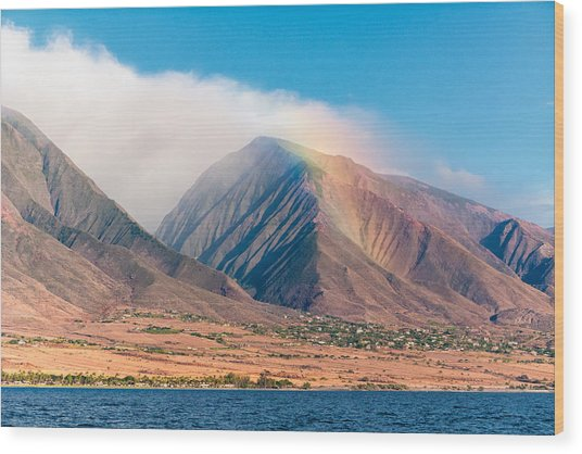 Rainbow Over Maui Mountains   Wood Print
