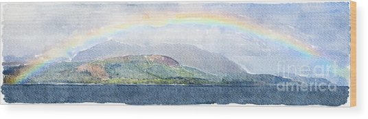 Rainbow Over The Isle Of Arran Wood Print