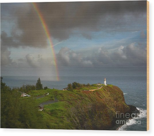 Rainbow Over Kilauea Lighthouse On Kauai Wood Print