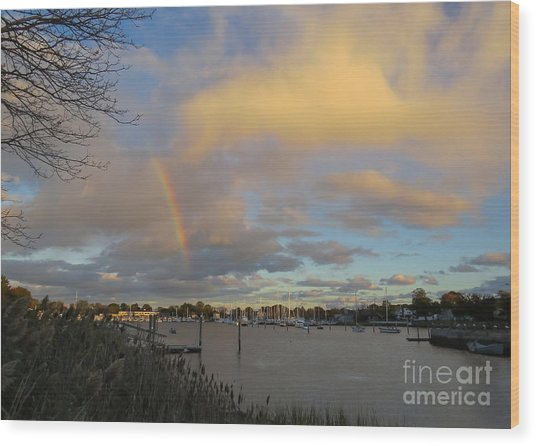 Rainbow Over Wickford Wood Print