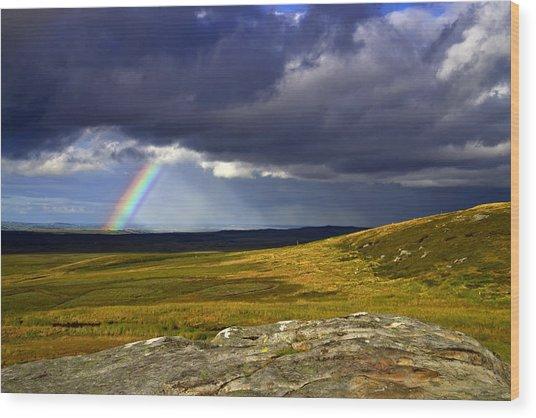 Rainbow Over Yorkshire Moors - Tann Hill Wood Print